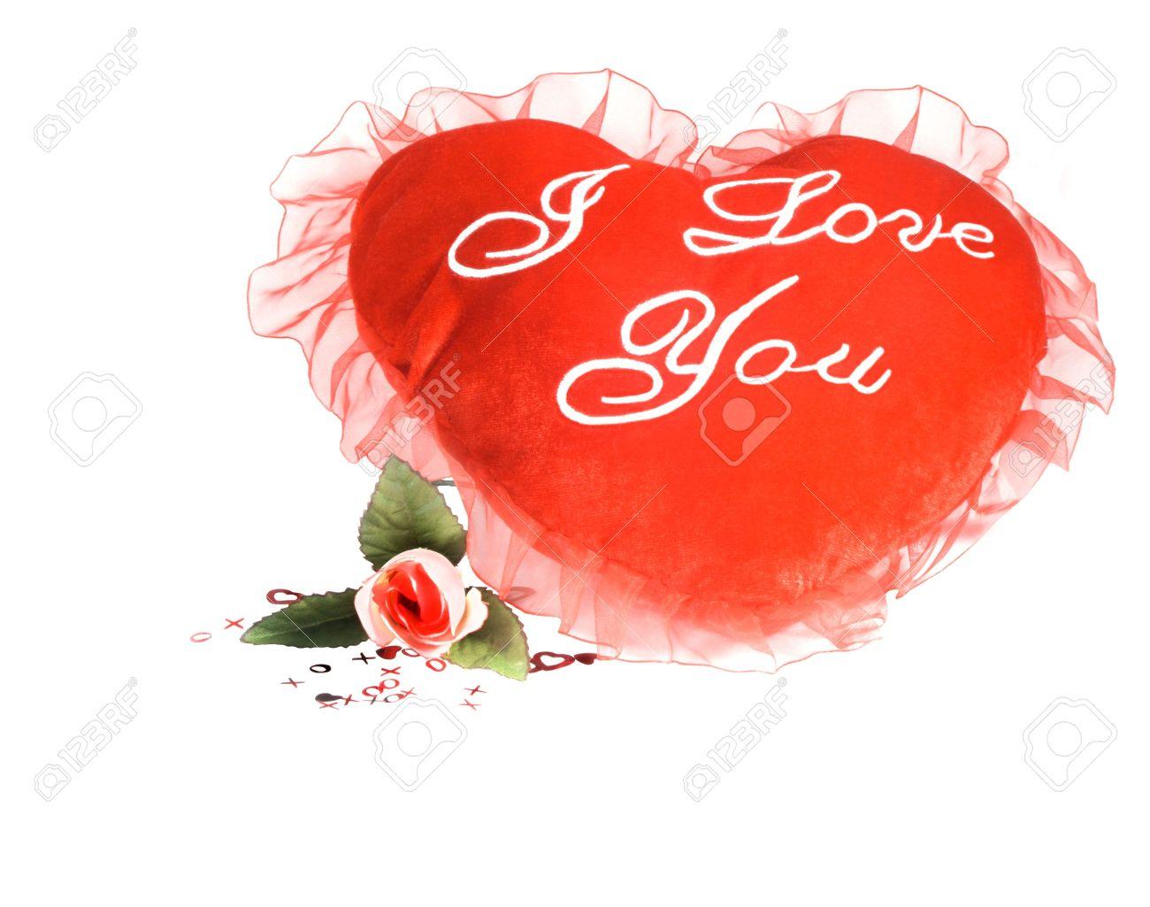 Geïsoleerd Overwhite Rode Gevuld I Love You Kussen Hart En Roos