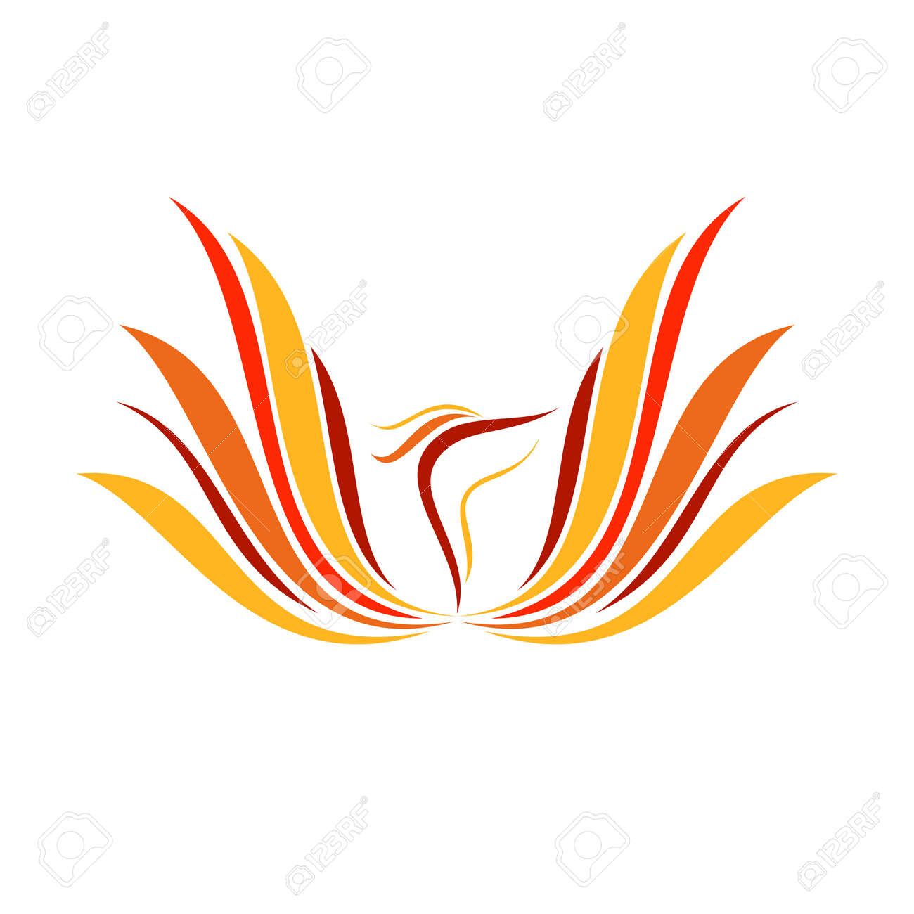 Abstract Flame Phoenix Wings Line Art Vector Symbol Graphic Logo