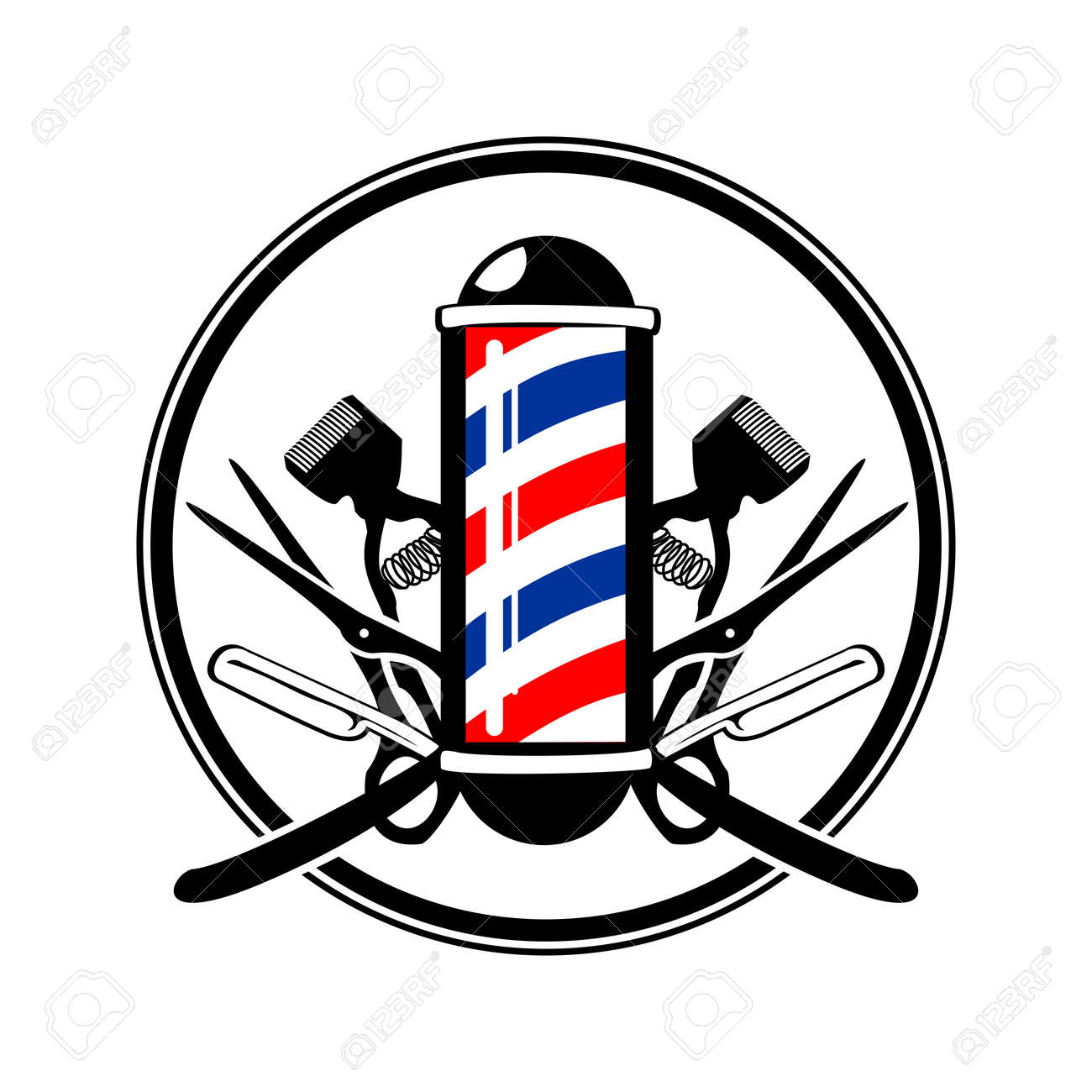 Circular Emblem Barber's Pole with Scissor, Razor And Old Clippers Symbol Vector Graphic Badge Design - 95578007