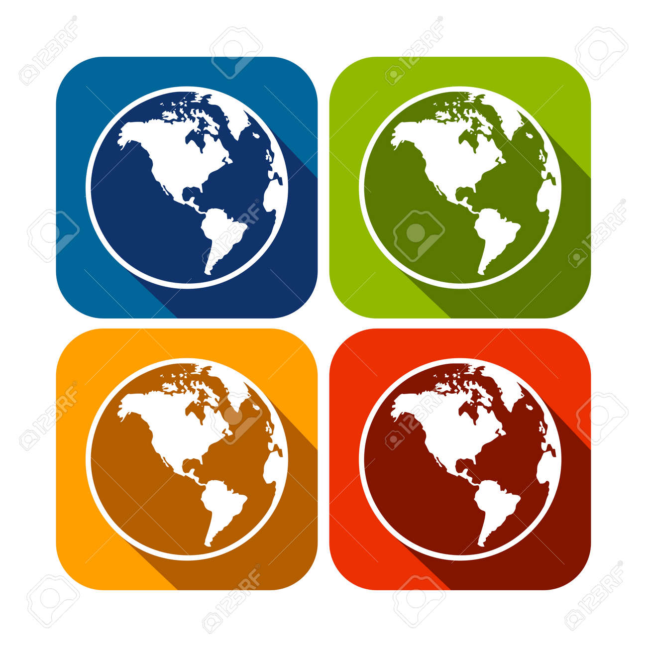 america continent map globe square flat icons royalty free cliparts