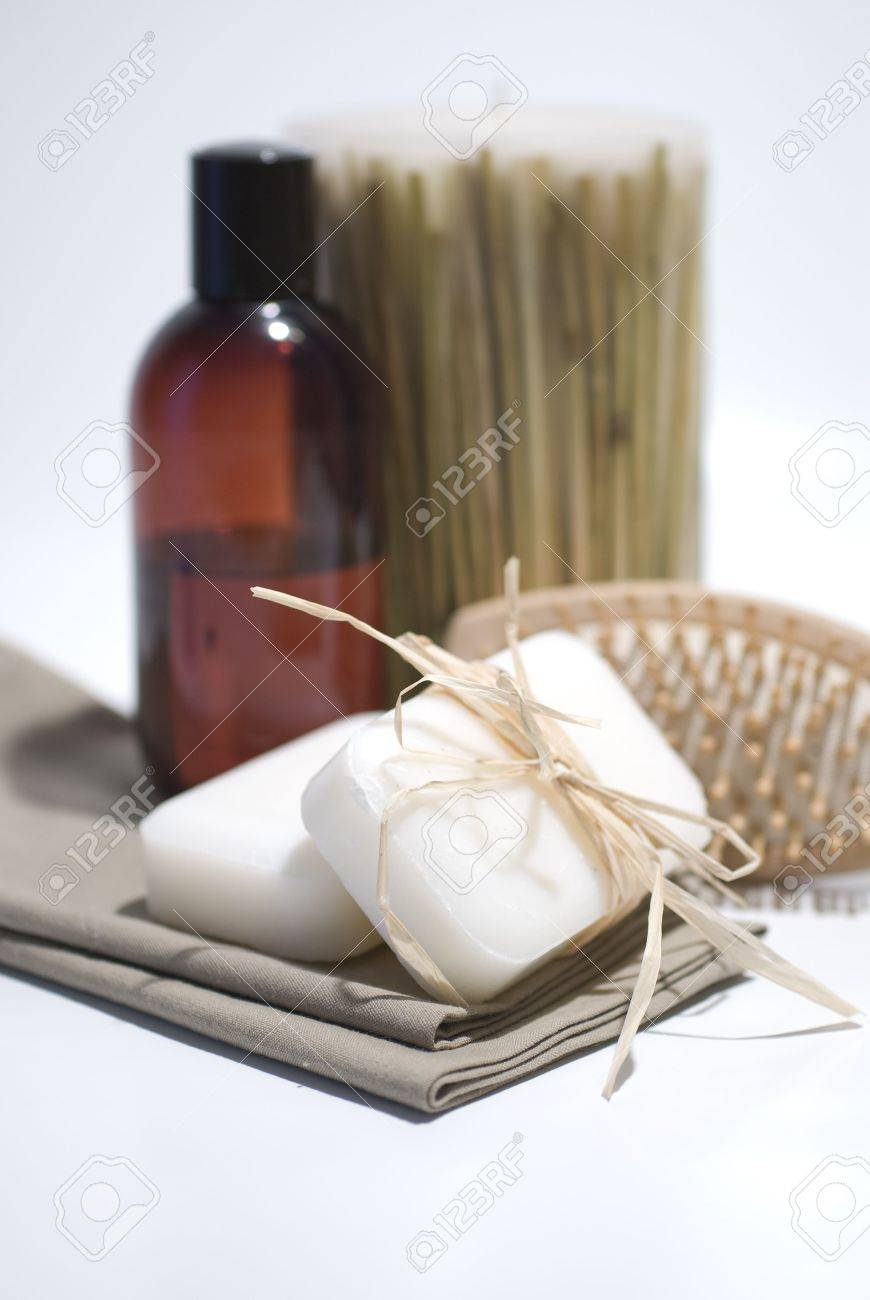 SPA soap and towels accessories for wellness or relaxing Stock Photo - 2715871
