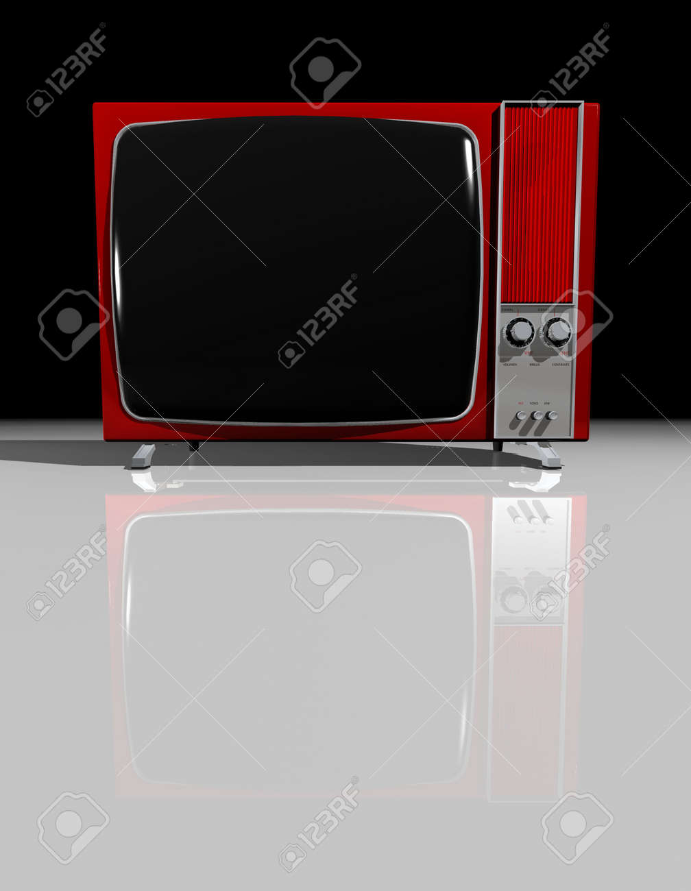 Old Vintage Black And White Tv Screen Stock Photo Picture And