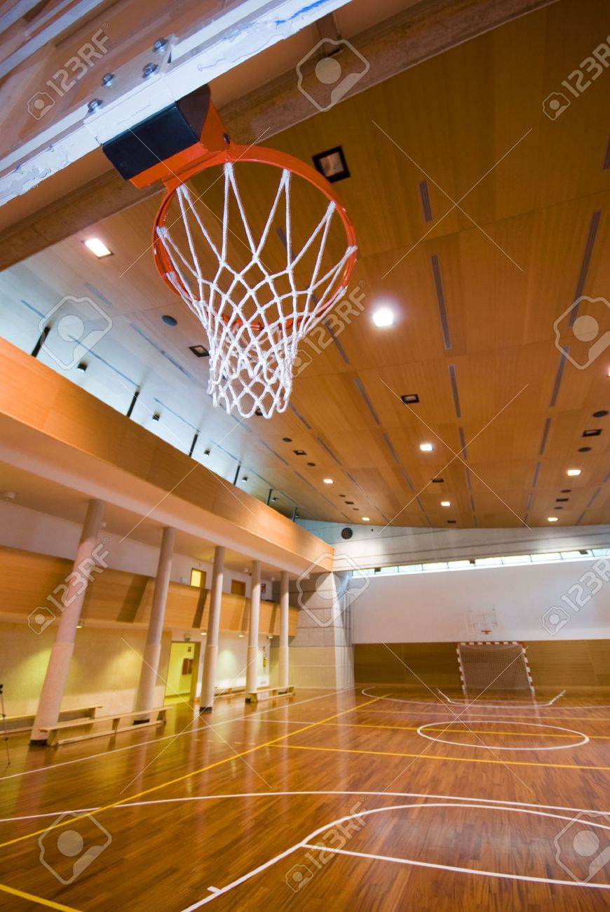 A Perspective View Of Basketball Indoor Sport Court Stock Photo ...