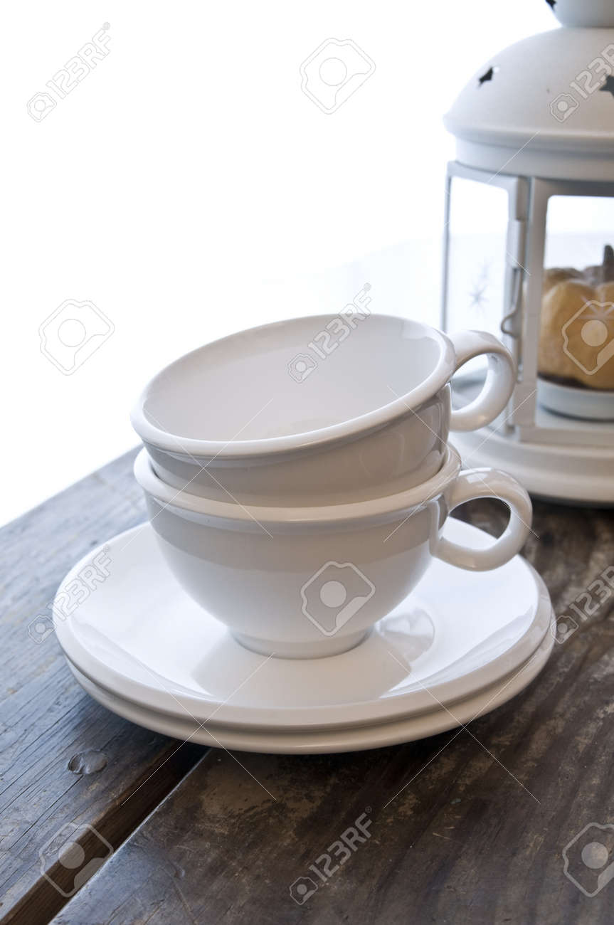 wooden table with two cups of coffee Stock Photo - 3955965