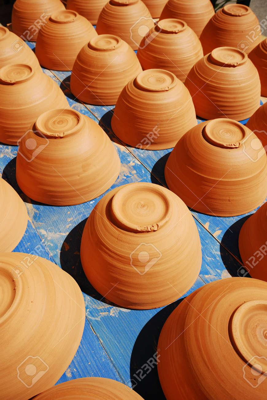 handmade new clay pot closeup in provence france Stock Photo - 4009818