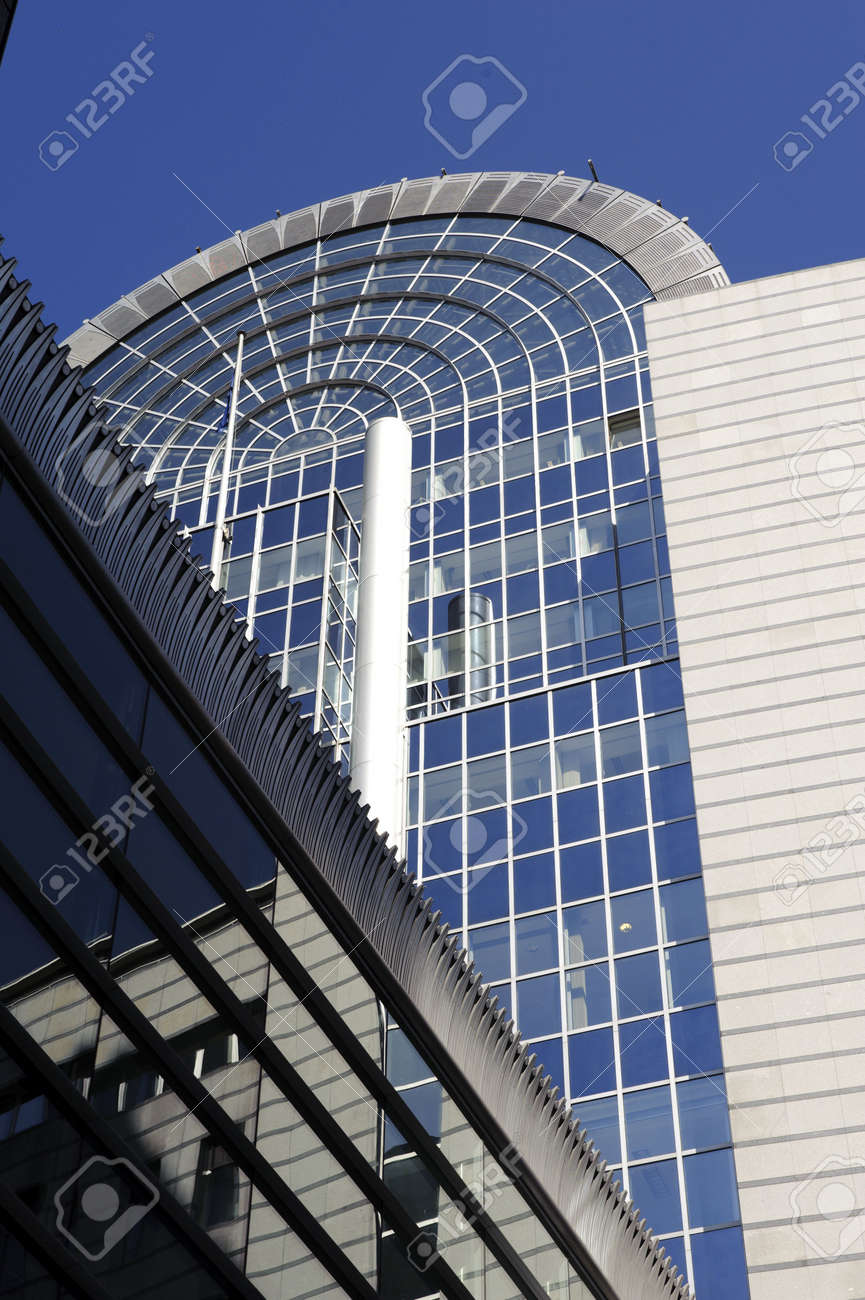 Facade of european parlament modern buildings in Brussels - Belgium Stock Photo - 6322452