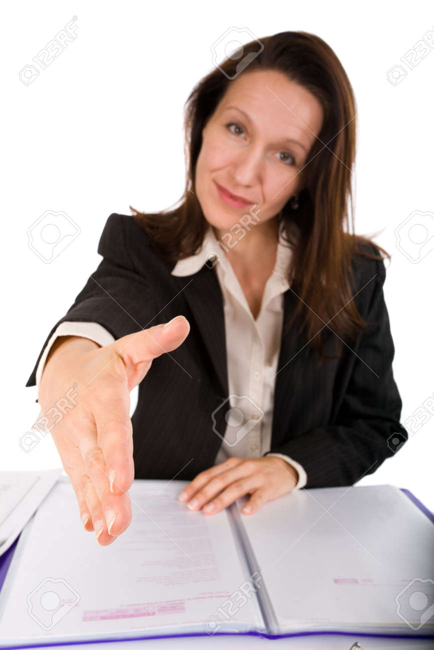 businesswoman with document presenting hand Stock Photo - 3572052