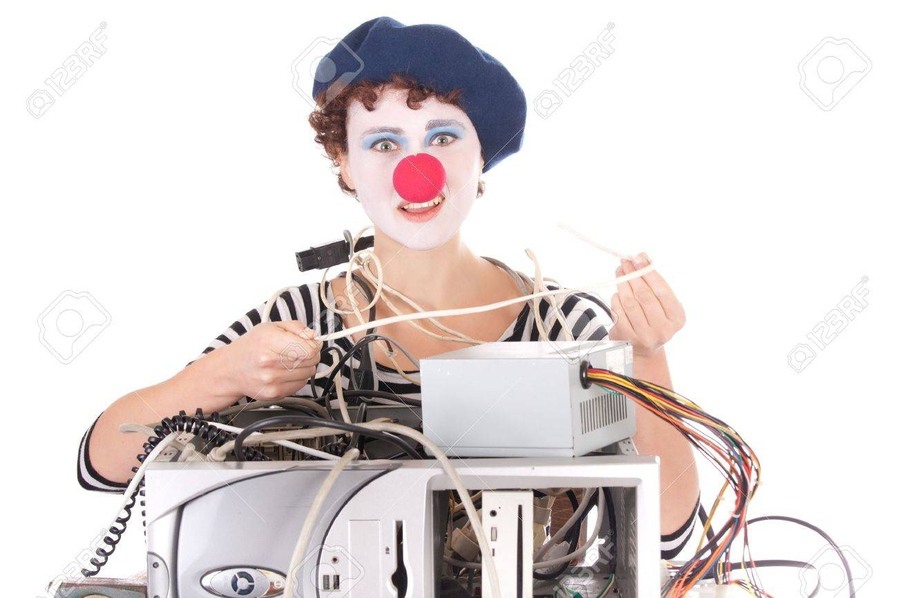 Woman with clown makeup having computer problems Stock Photo - 5948380