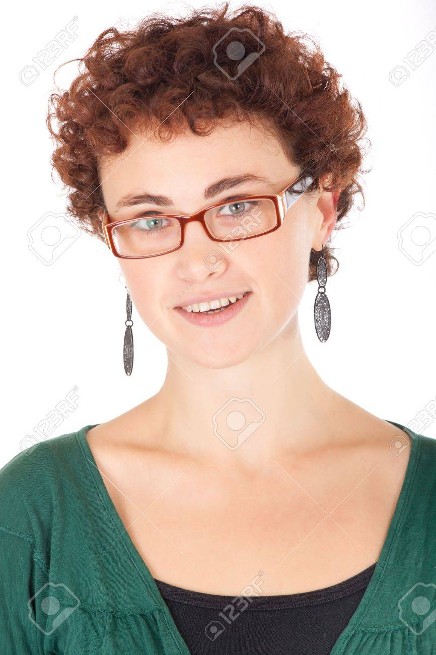 portrait of pretty young woman wearing glasses isolated on white Stock Photo - 6110021