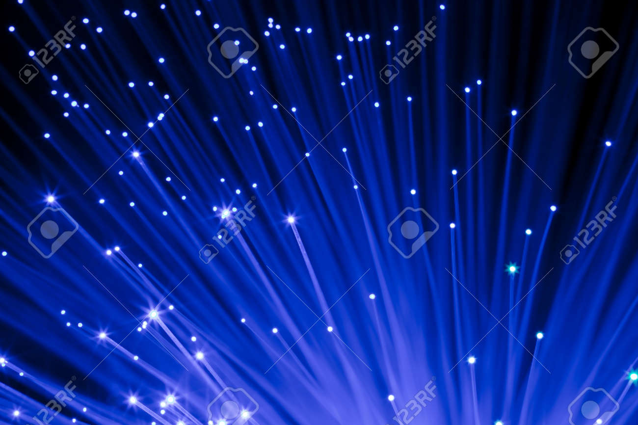 closeup on  decorative blue optic fibers under black background Stock Photo - 6122381
