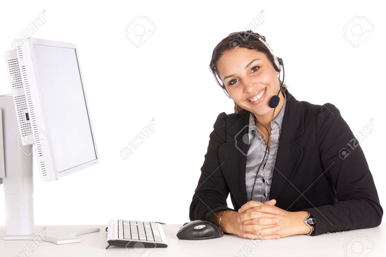 young friendly operator woman agent in an office over white background Stock Photo - 6162932