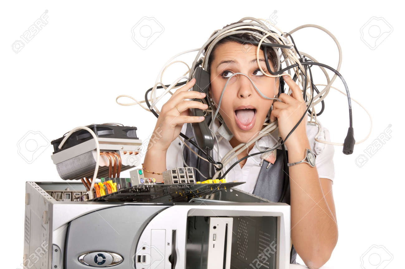 woman in panic having problems with computer trying to reach support line Stock Photo - 6162927