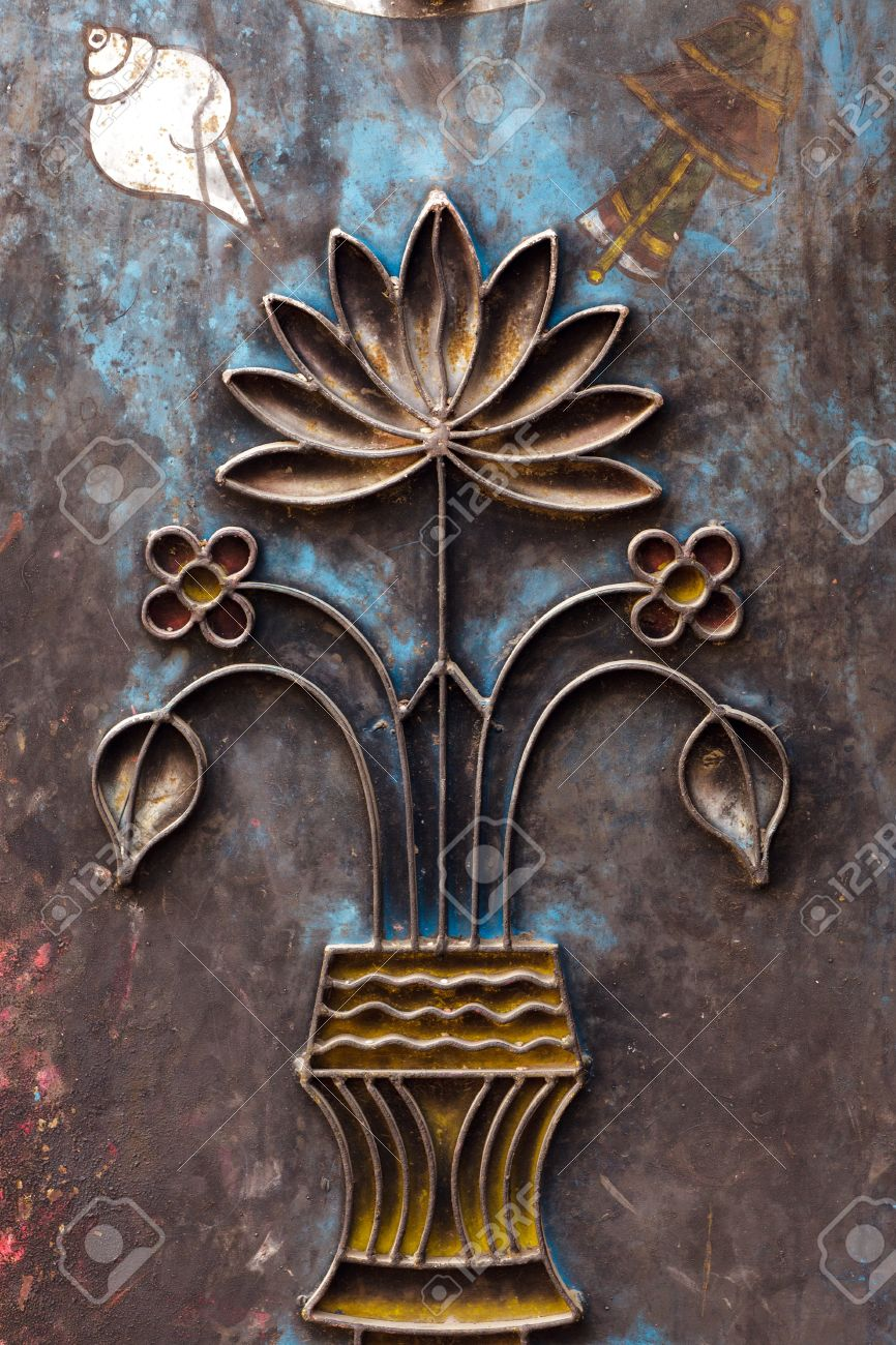 Hinduism Metal Carving Of Lotus Flower On Nepalese Temple Stock