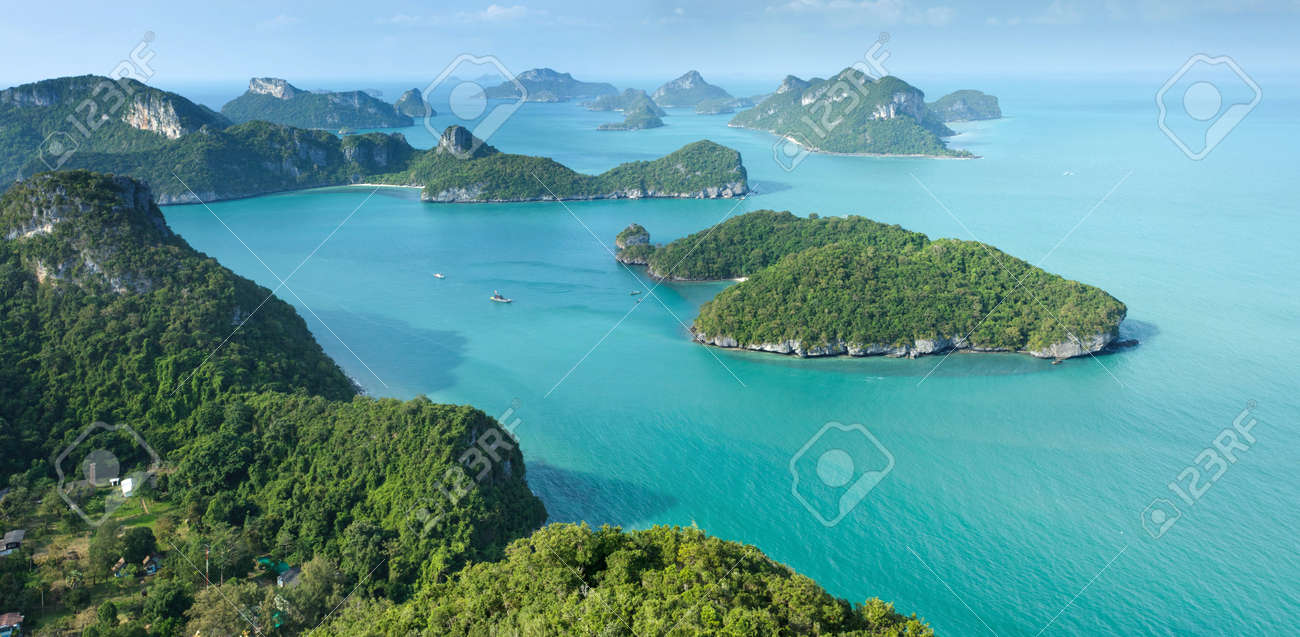 scenic tropical island archipelago panorama in Thailand, ang thong national park Stock Photo - 9468812
