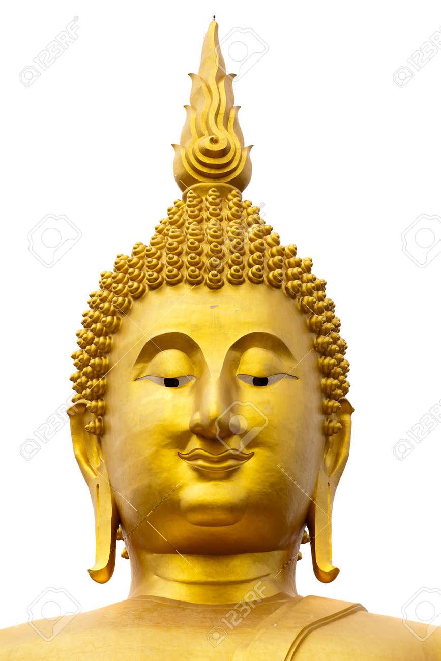 wat muang giant buddha face isolated on white background, Thailand Stock Photo - 9627690