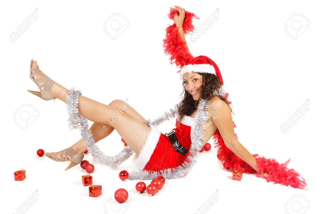 santa woman lying on floor with christmas ornaments Stock Photo - 9812182