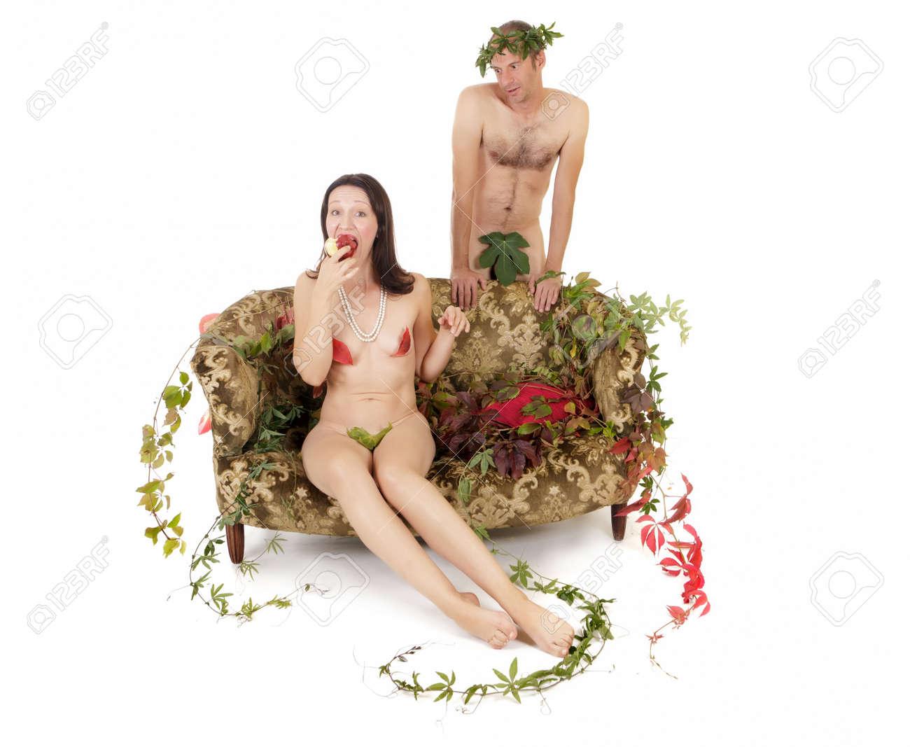 kitsch couple seduction on retro couch, original sin concept Stock Photo - 10995105