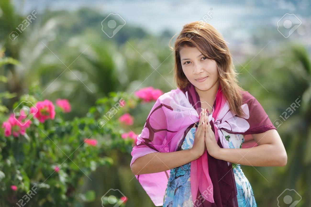 Thai woman greetings sign in ko phi phi island thailand stock photo stock photo thai woman greetings sign in ko phi phi island thailand m4hsunfo