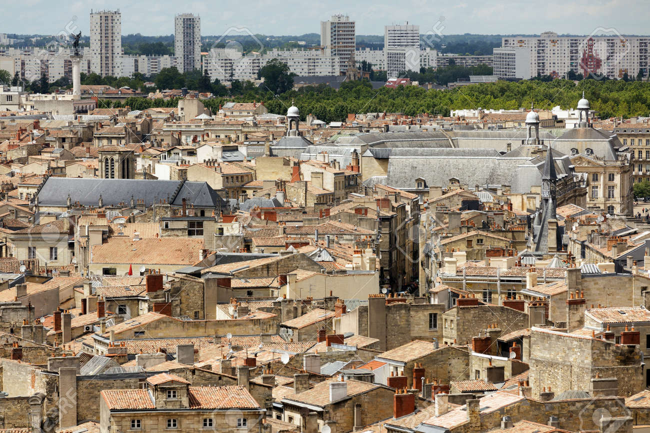 Modern Architecture France view on bordeaux ancient and modern architecture, france stock