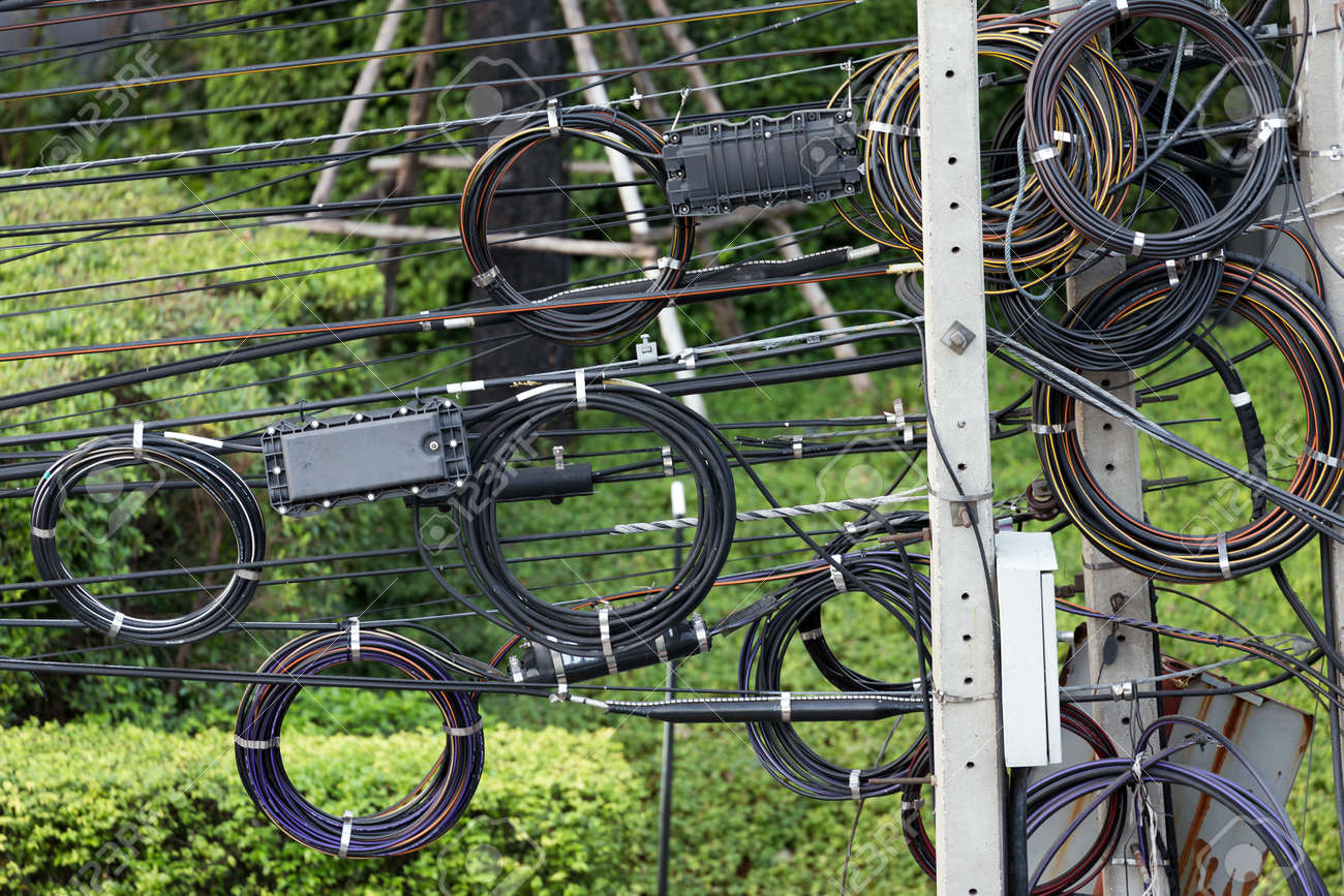 Electric Cables Messy Tangled In Bangkok Thailand Stock Photo Wiring 38483441