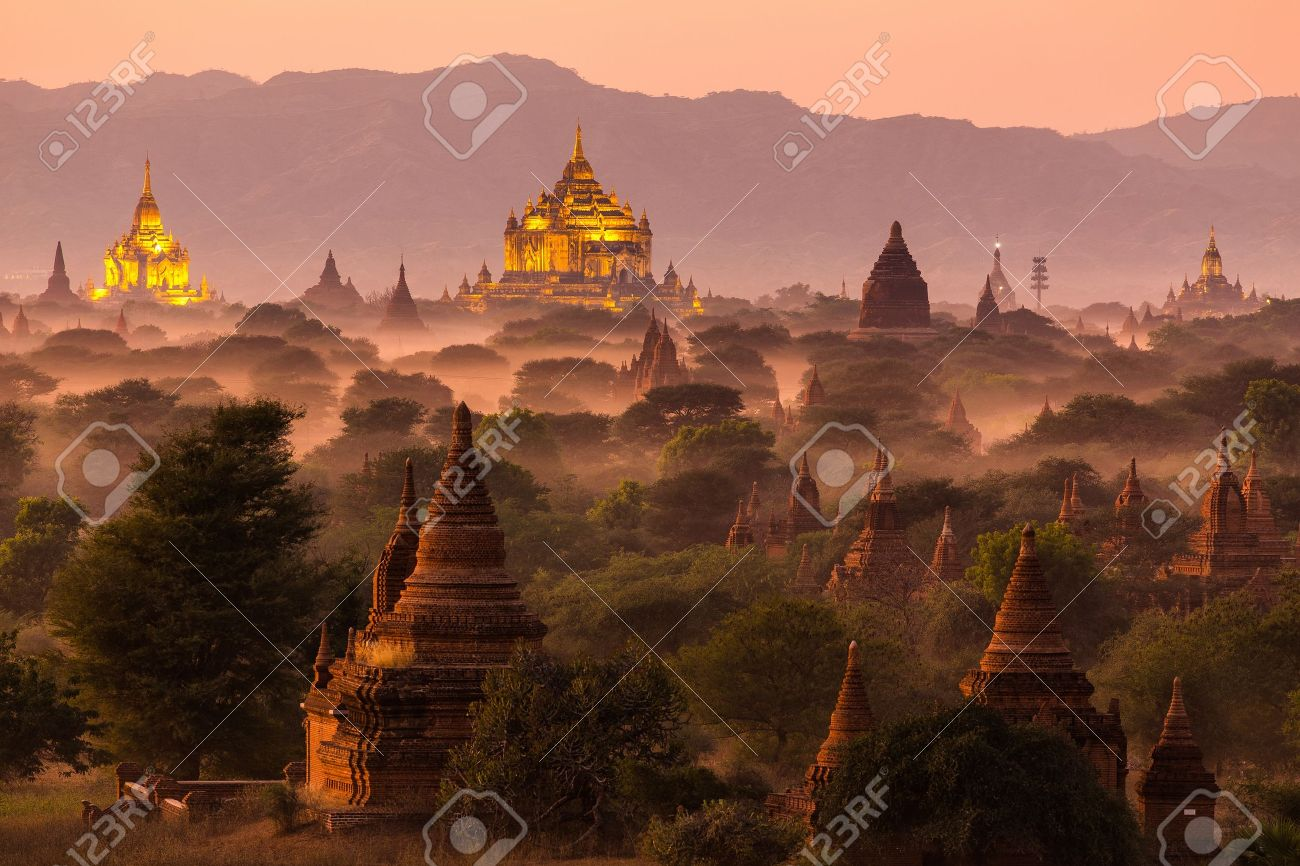 Pagoda landscape under a warm sunset in the plain of Bagan, Myanmar (Burma) Stock Photo - 40979868
