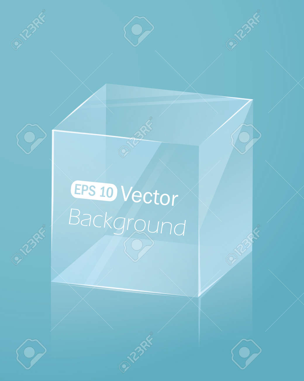 Abstract light blue background with glass cube Stock Vector - 18982036