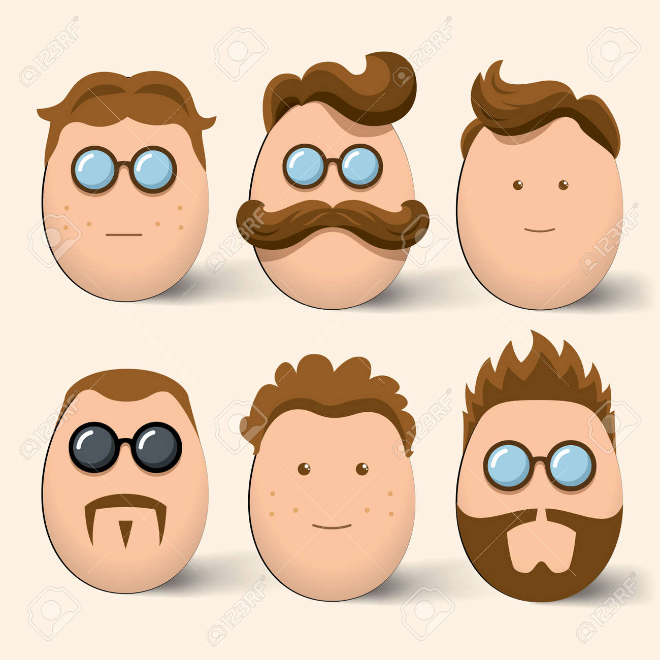 Egg characters face set Stock Vector - 18981981