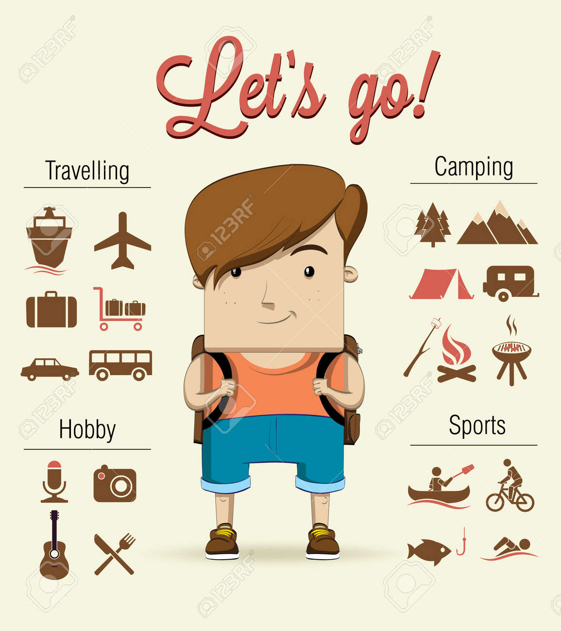 8195 template - Summer Camp Background Camping Boy Character Vector Illustration Illustration