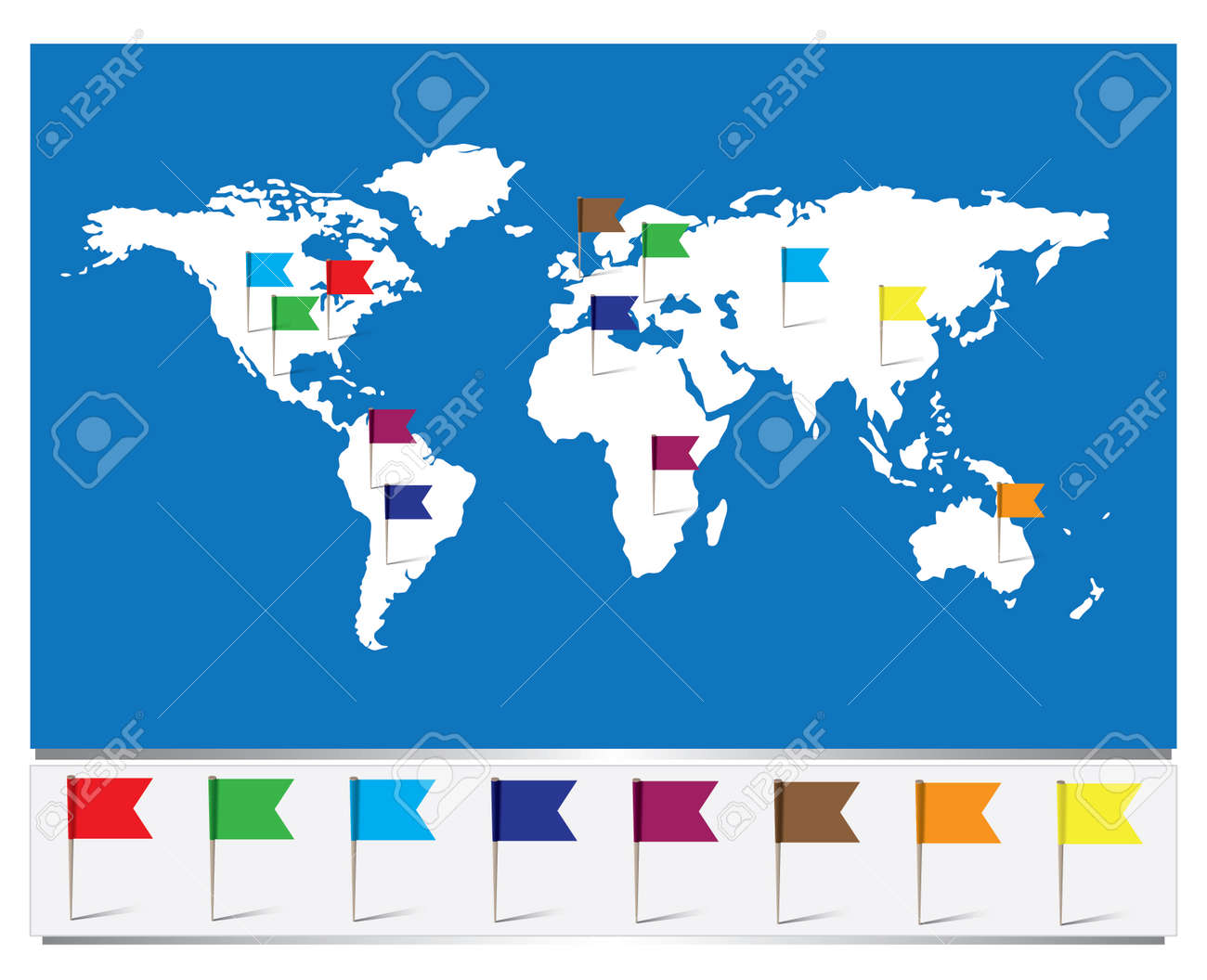 Worldmap with flag pins royalty free cliparts vectors and stock vector worldmap with flag pins gumiabroncs Images
