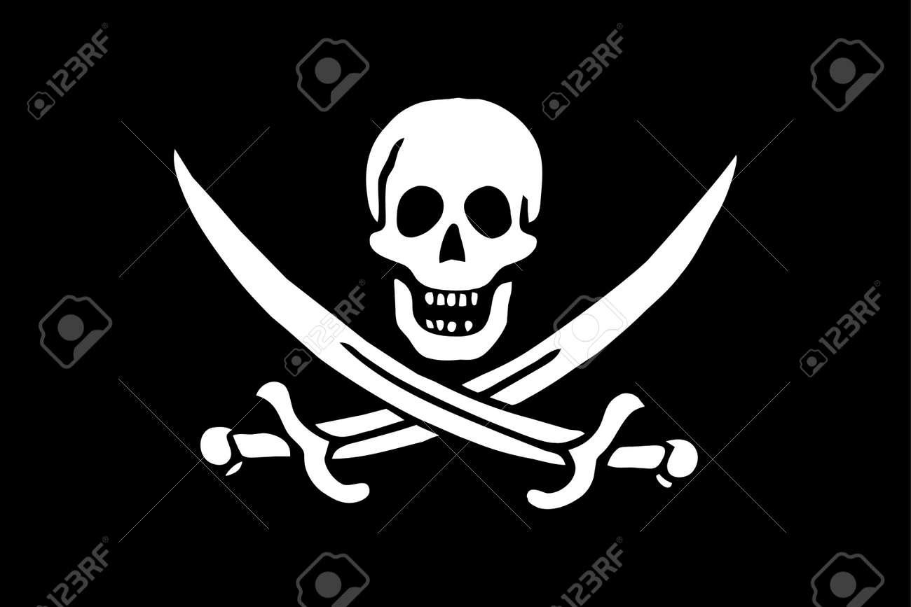 pirates flag skull swords on black background simple flag