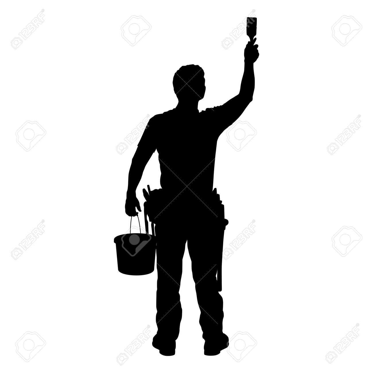 MAN AT WORK - SILHOUETTE - Dark image outlined against a white background Stock Photo - 792268