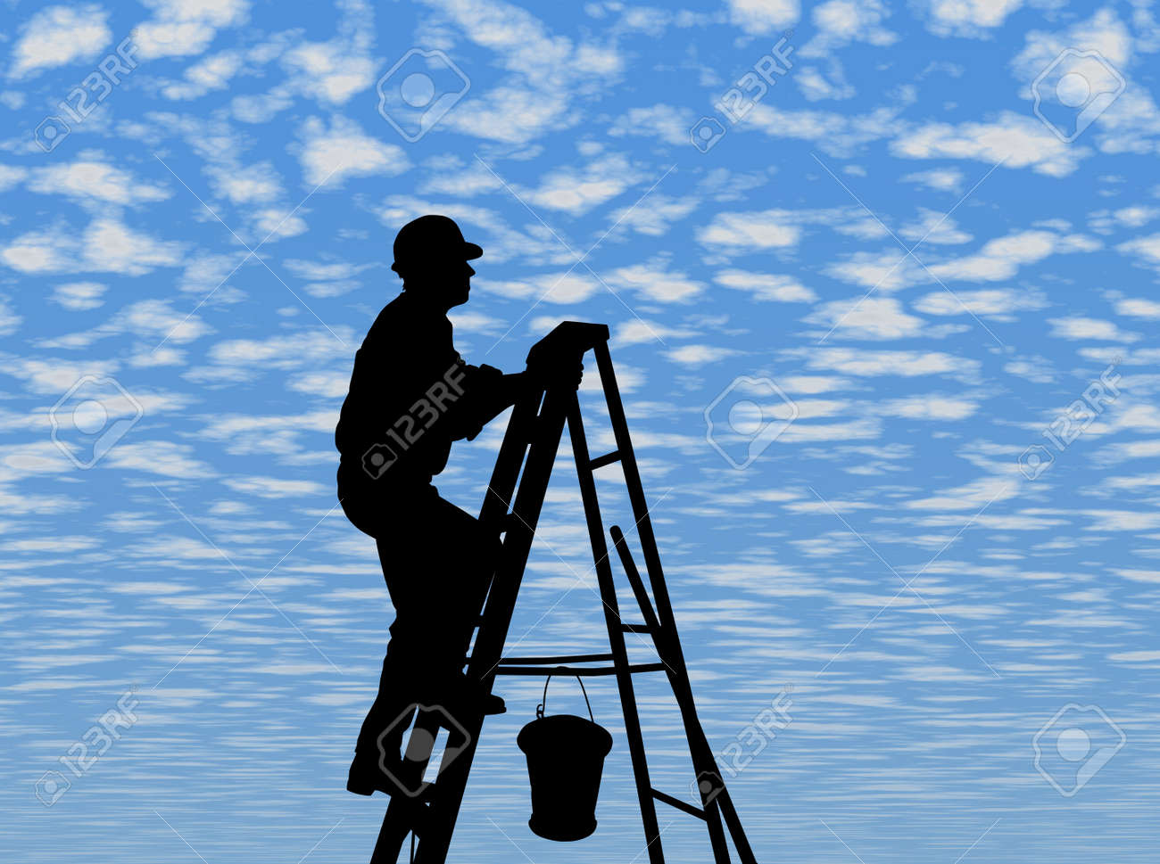 MAN AT WORK - SILHOUETTE - Dark image outlined against a fluffy clouds background Stock Photo - 792267