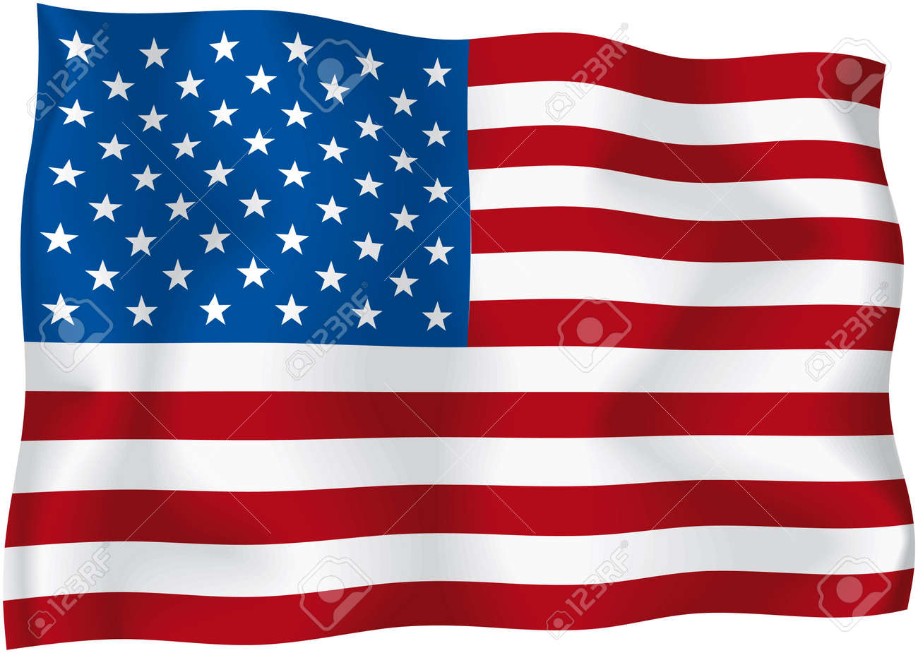USA - American flag - American wavy flag isolated on white background Stock Photo - 6568407
