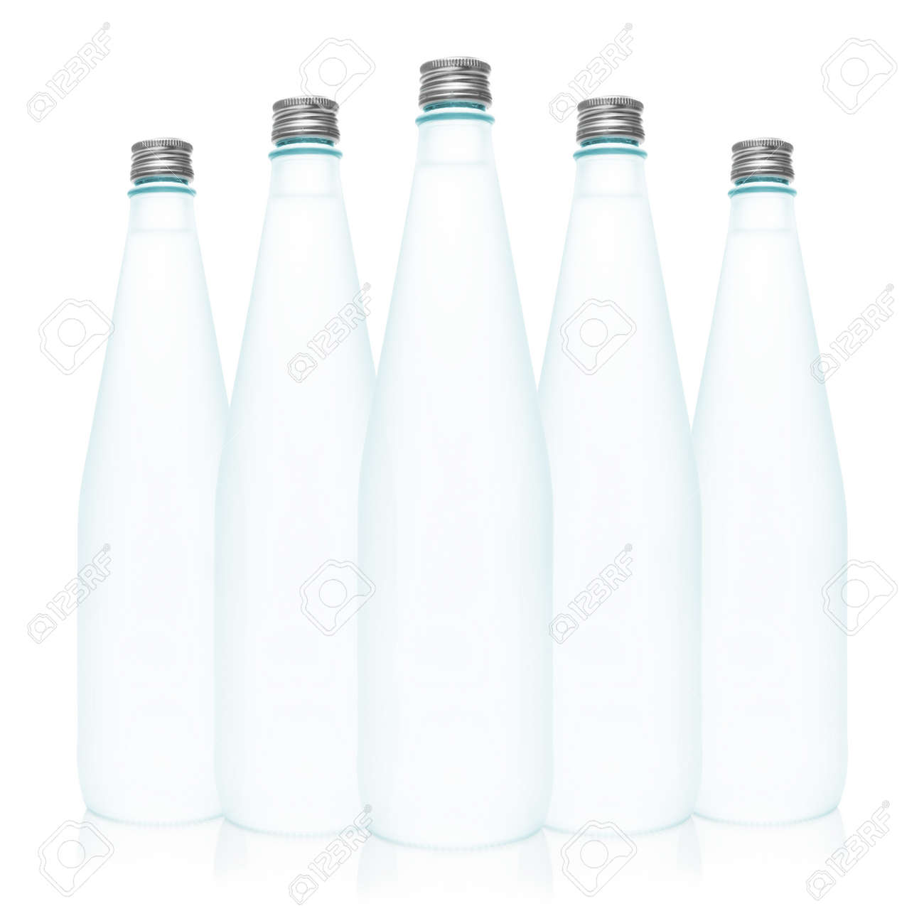 6aaacc12b2c Isolated glass water bottles on white background Stock Photo - 17925614