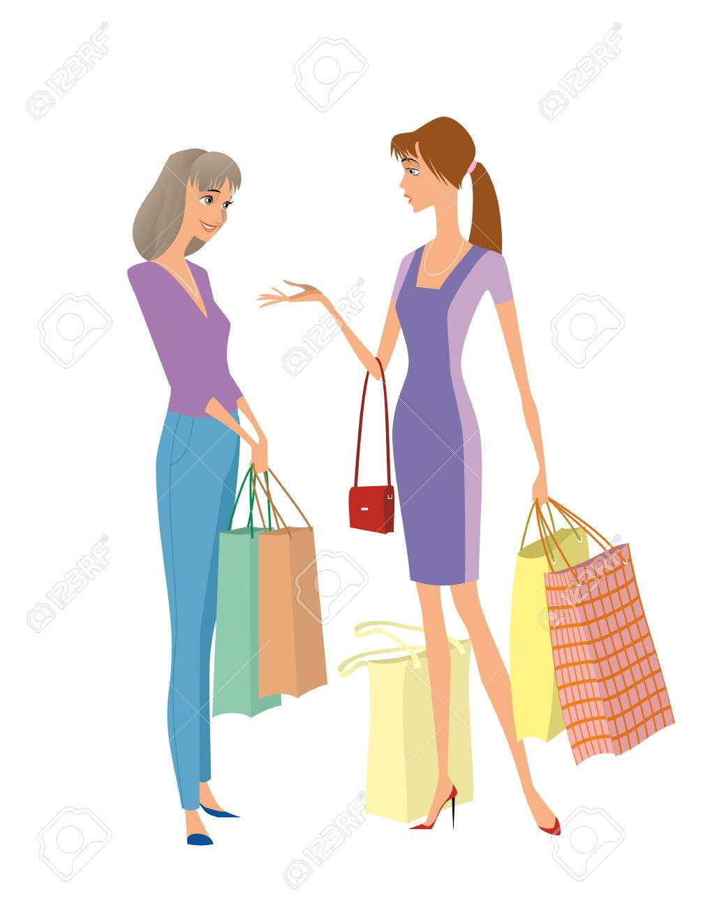 Illustration Of Two Girls Shopping Stock Vector