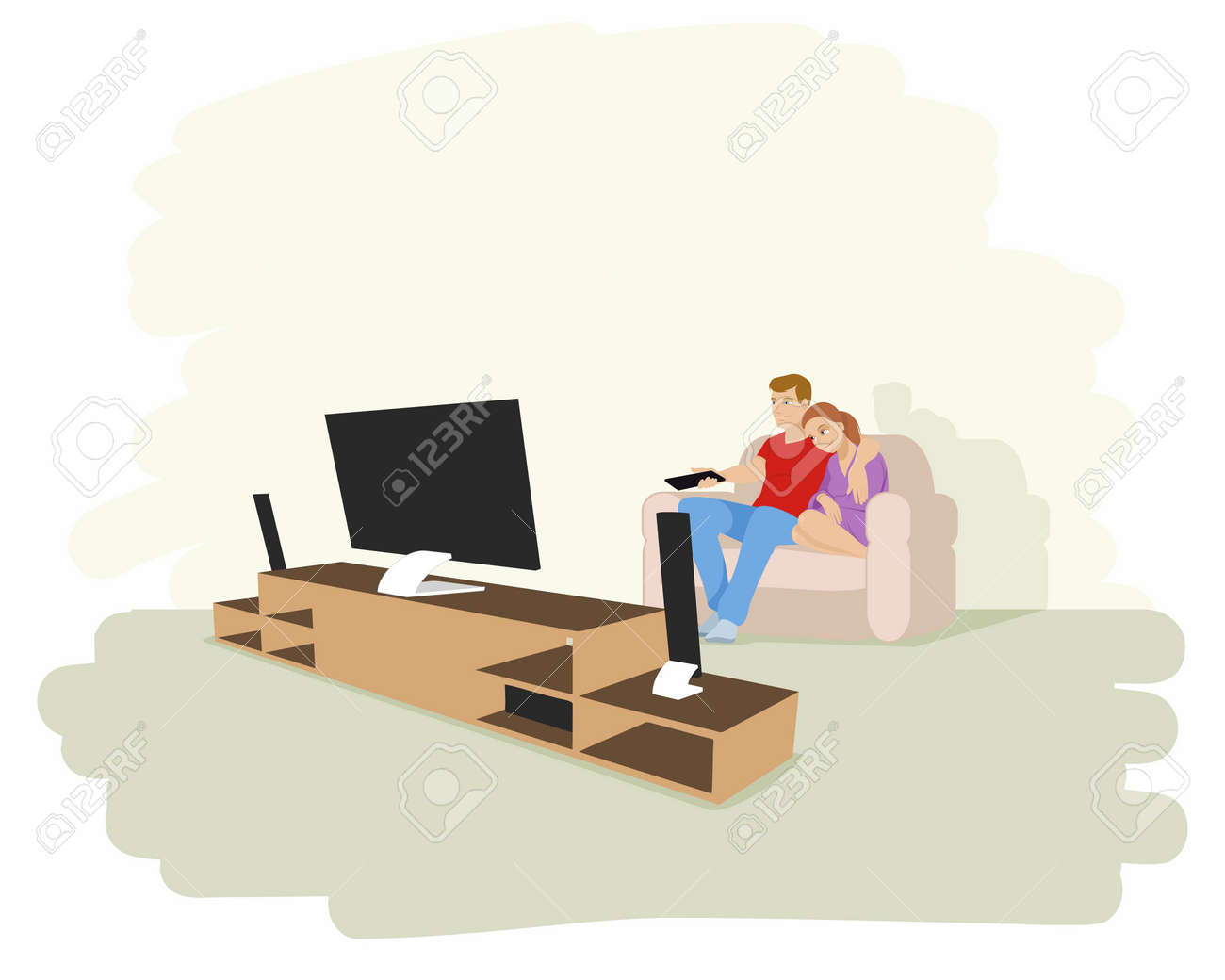 テレビを見ているカップルのベクトル イラスト ロイヤリティフリー