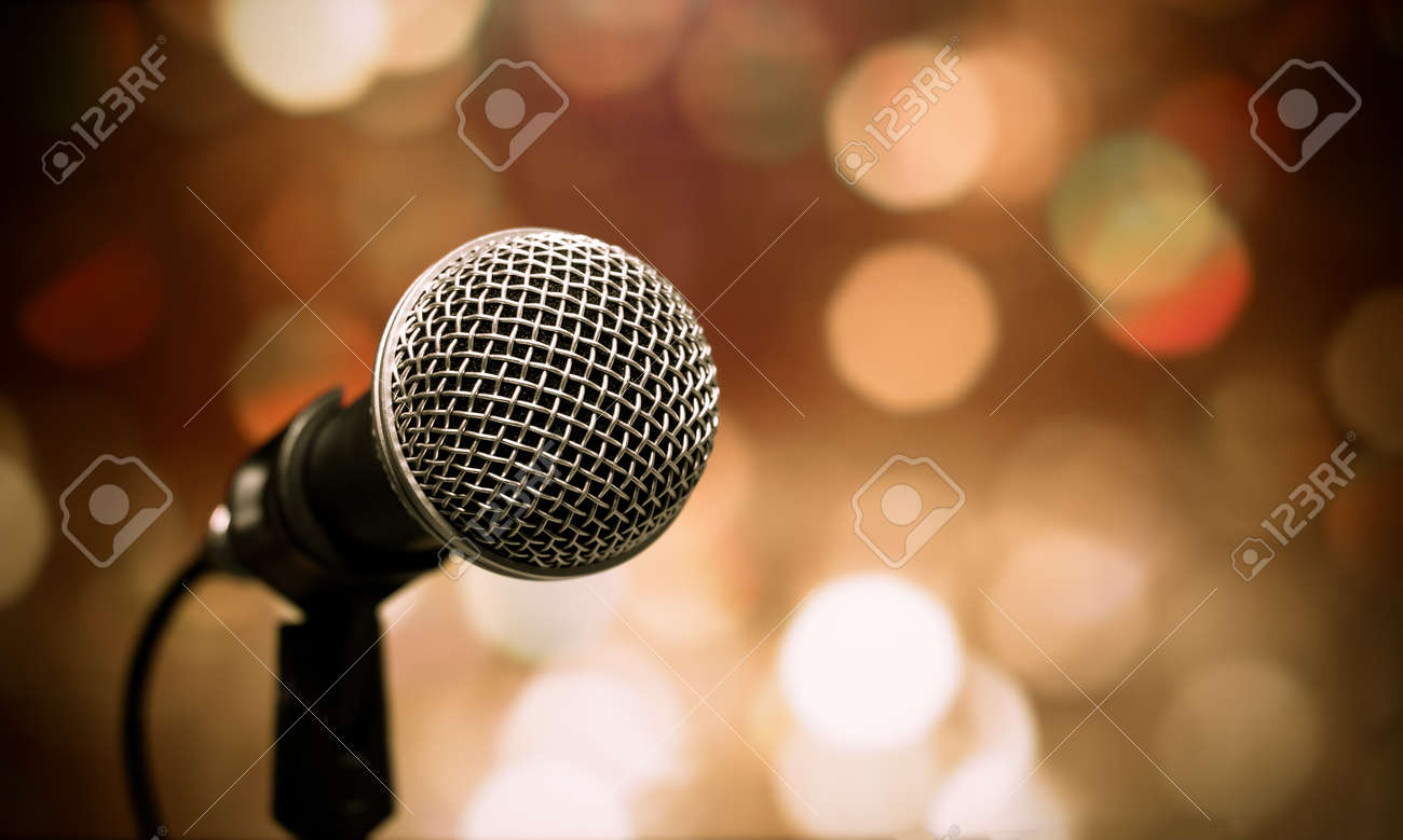 Blurred of microphones in seminar room, talking speech in conference hall light with microphone and keynote. - 88559964