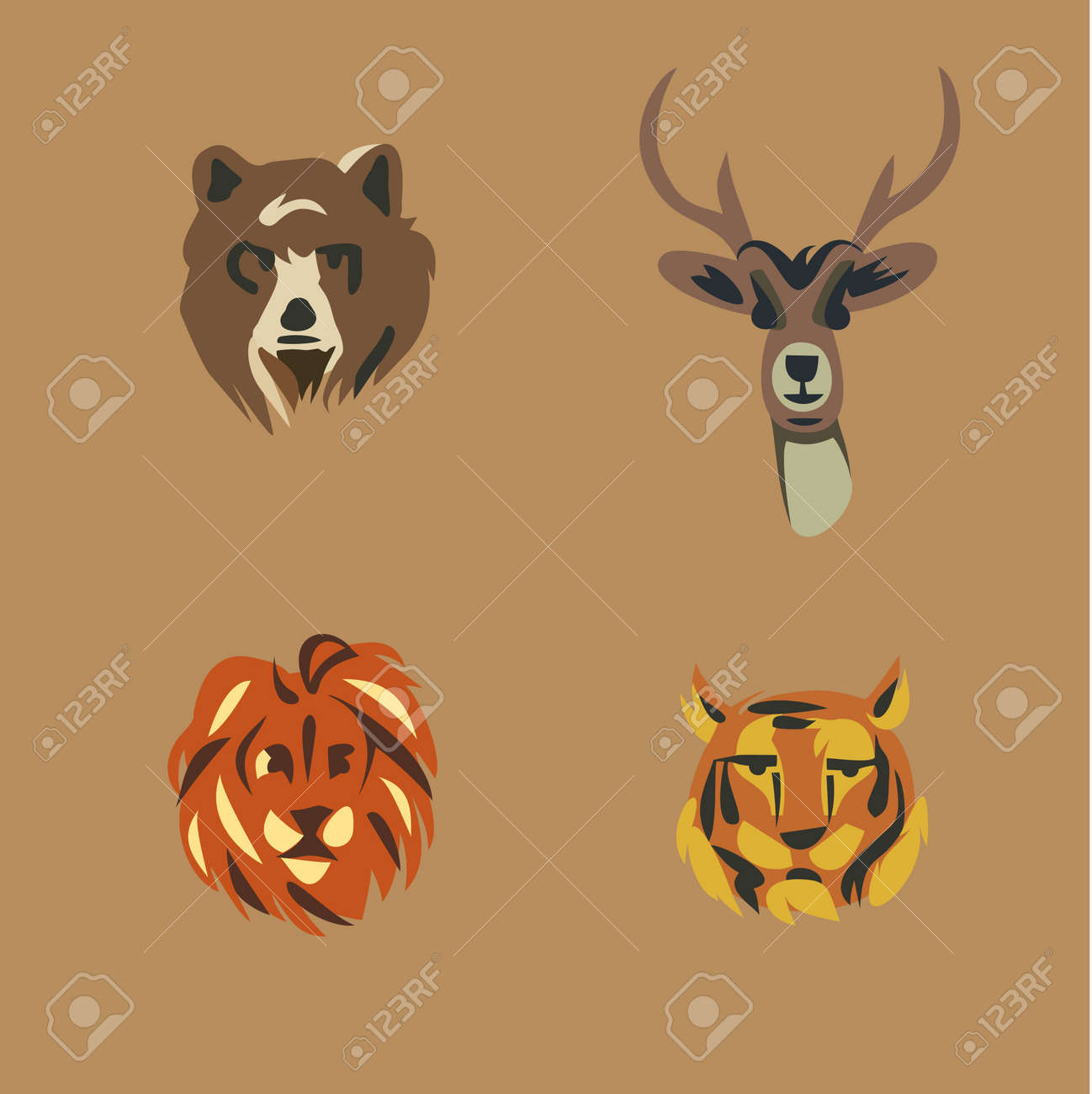 野生動物のイラスト アイコン セット: 熊、鹿、ライオン、トラ