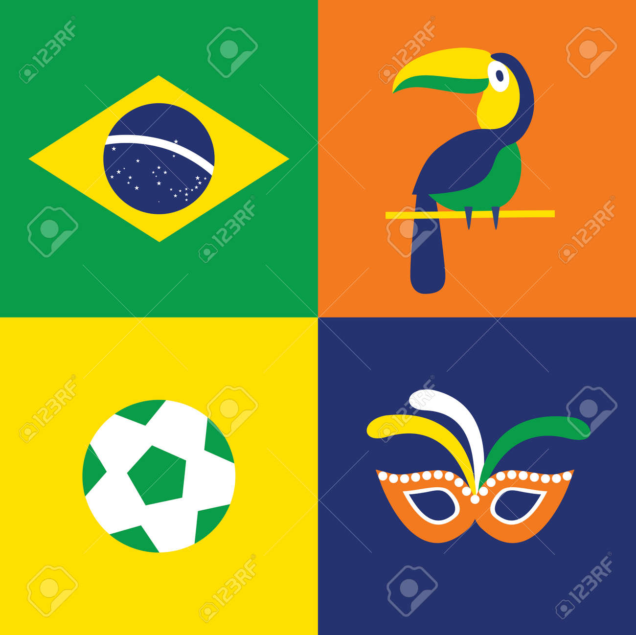 Vector flat illustration icon set of brazil flag bird mask vector flat illustration icon set of brazil flag bird mask football stock sciox Choice Image