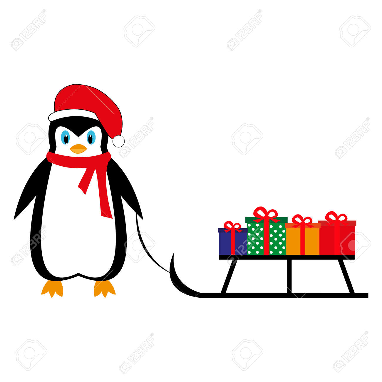 cartoon penguin is bringing new year gifts on a sleigh stock vector 88412215