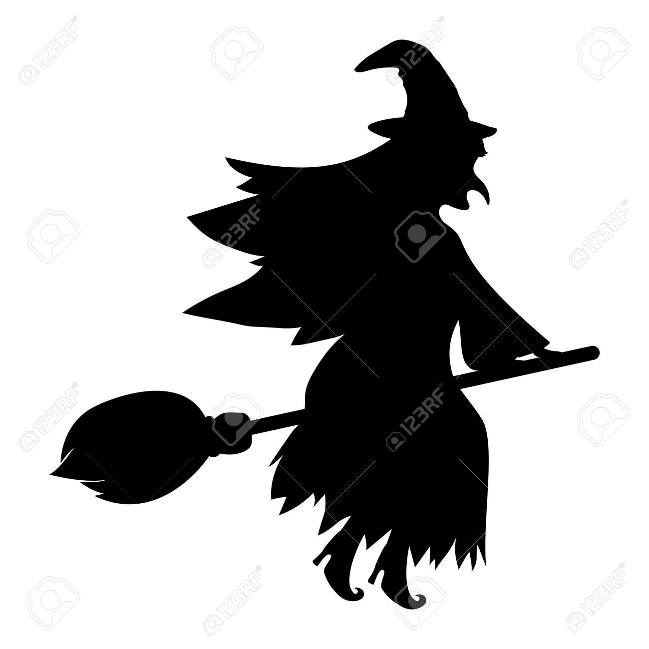 Witch with a cat on a broomstick for Halloween isolated on white - 131450089