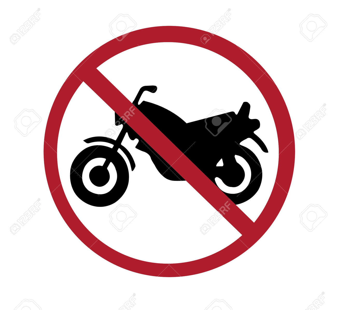 sign - no motorcycles, black and red on white, with paths Stock Photo - 6637477