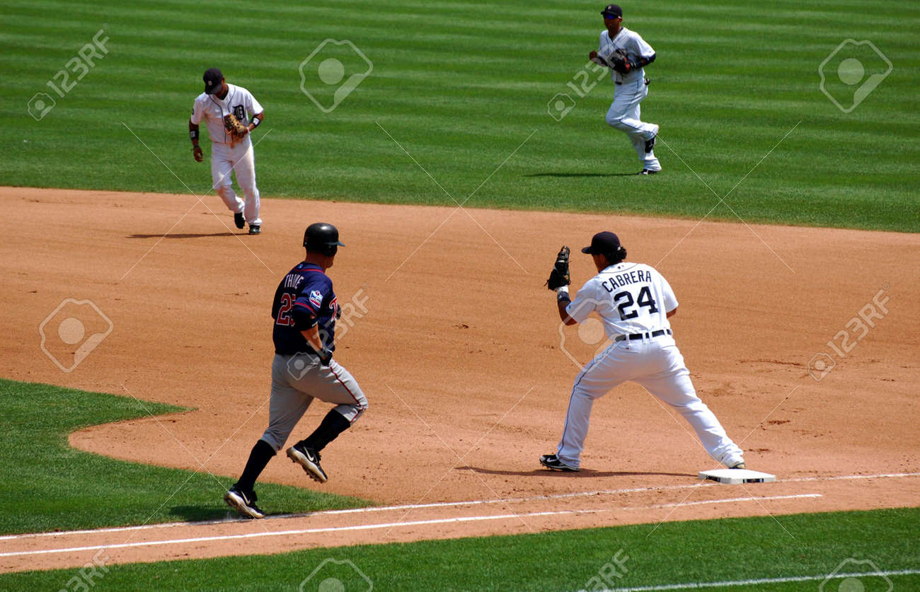 DETROIT, MI - JULY 11: First baseman Miguel Cabrera of the Detroit Tigers in action during a game against the Minnesota Twins on July 11, 2010 in Detroit, Michigan. Stock Photo - 7358382