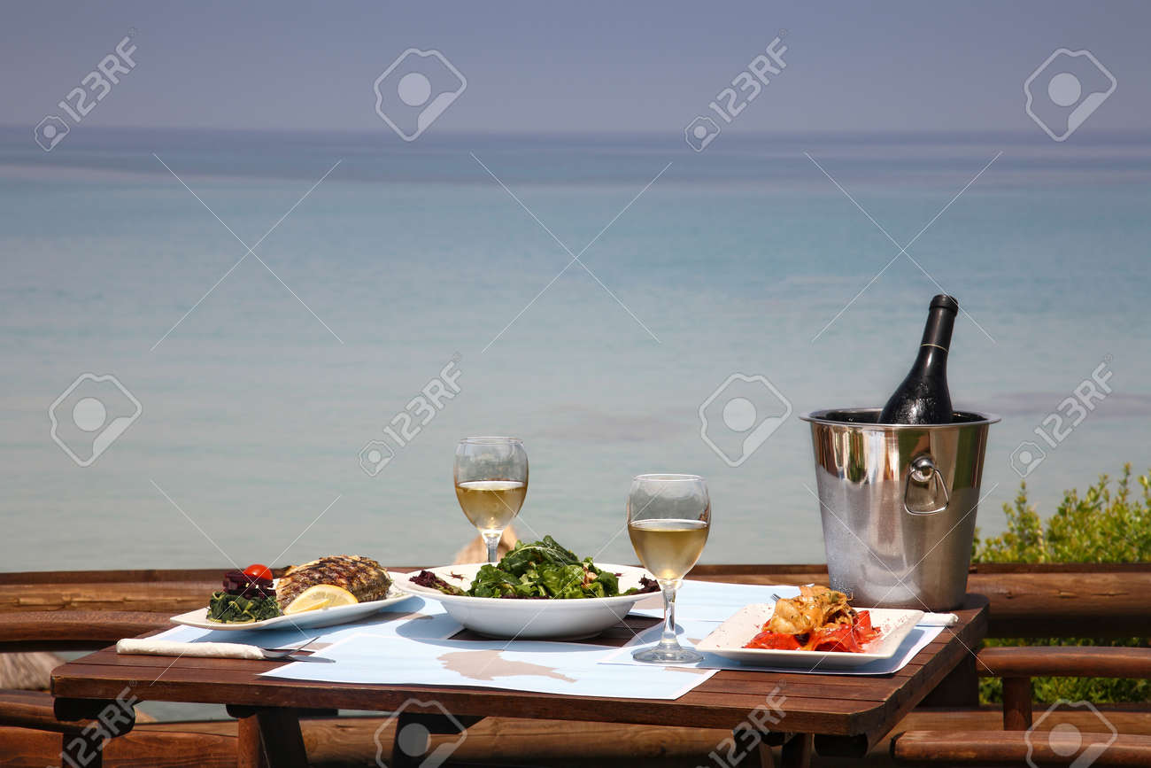Restaurant table for two - Stock Photo Lunch Table For Two At Restaurant By The Sea