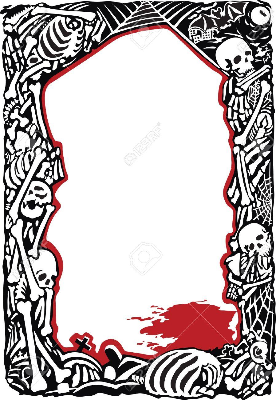 Marco Con Huesos, Cráneos Y Charco De Sangre Ilustraciones ...