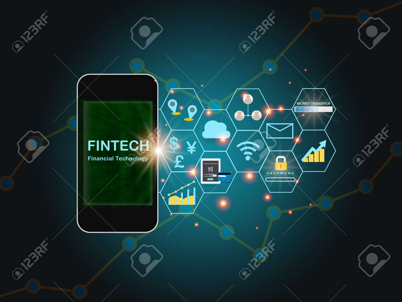 Financial technology words on smart phone screen with fintech theme background. Investment technology concept and internet of thing idea - 157744812