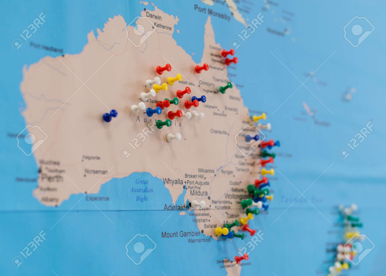 Buttons On Australia On The World Map Soft Focus Stock Photo
