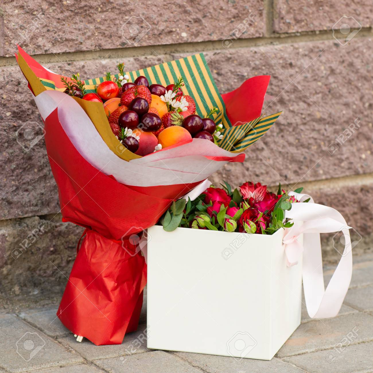 Fruit bouquet and box with flowers stock photo picture and royalty fruit bouquet and box with flowers stock photo 104522335 izmirmasajfo