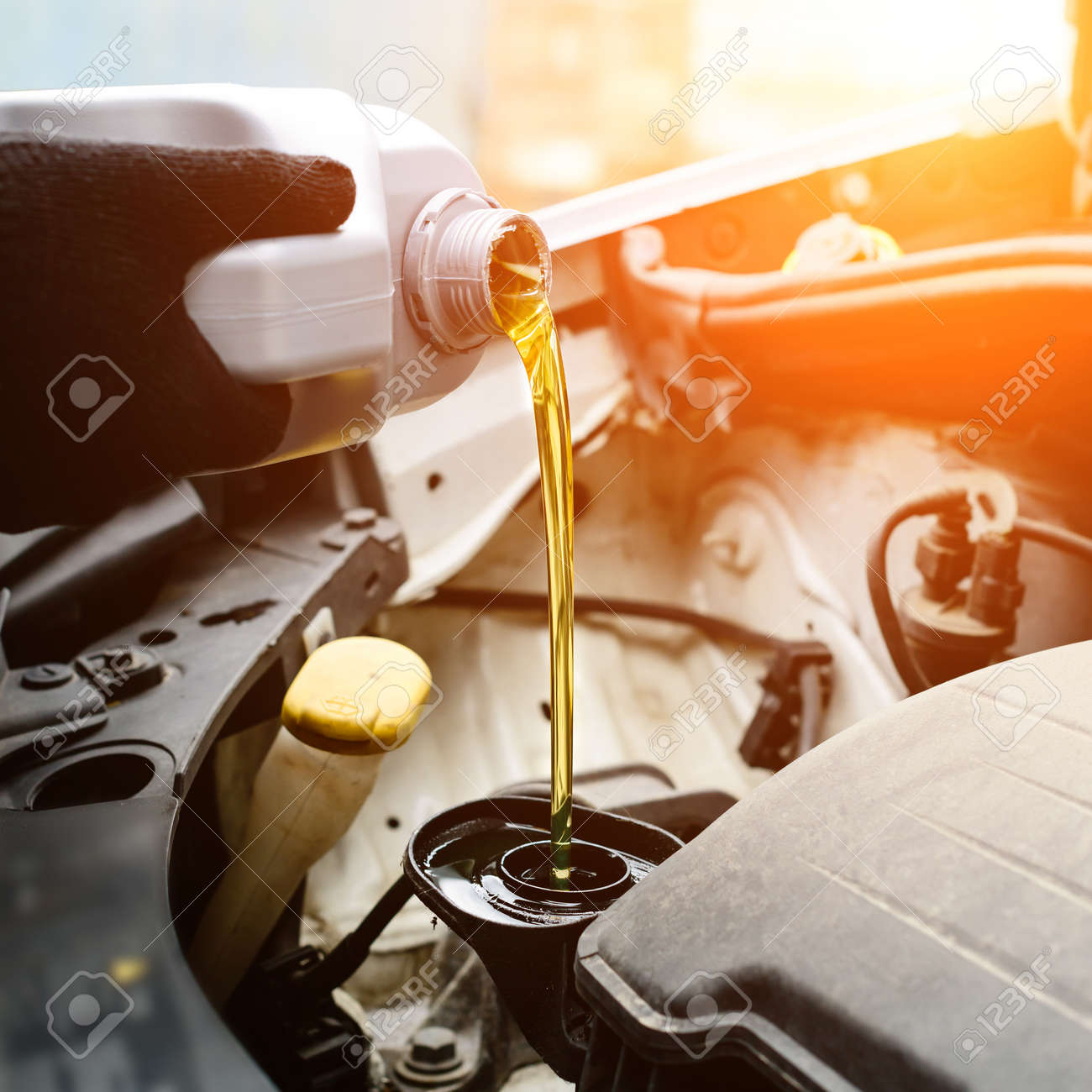 Fresh oil being poured during an oil change to car engine in ray - 105053884
