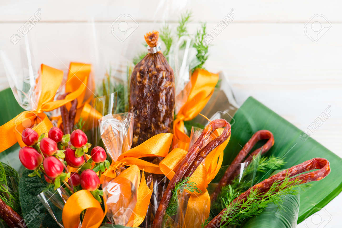 Flower Bouquet With Sausages And Salami Mens Gift Stock Photo